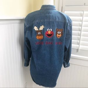 Vintage Sesame Street Embroidered Denim Shirt - S